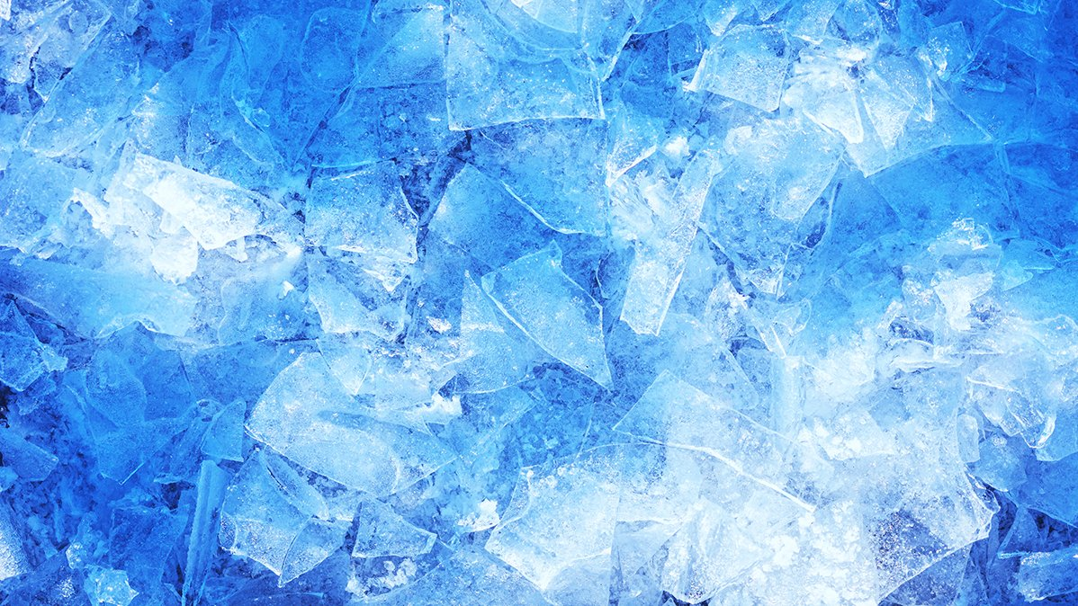 Broken ice on blue background